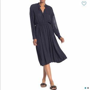 VINCE Mixed Media Silk Panel Midi Dress